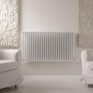 horizontale design radiator woonkamer wit